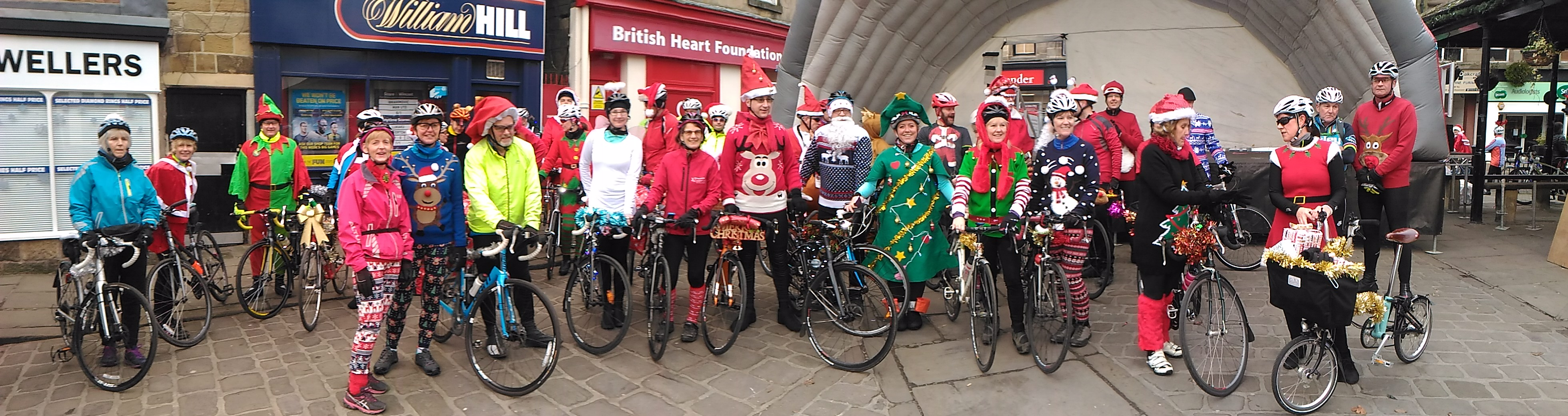 Festive group shot at start of rides